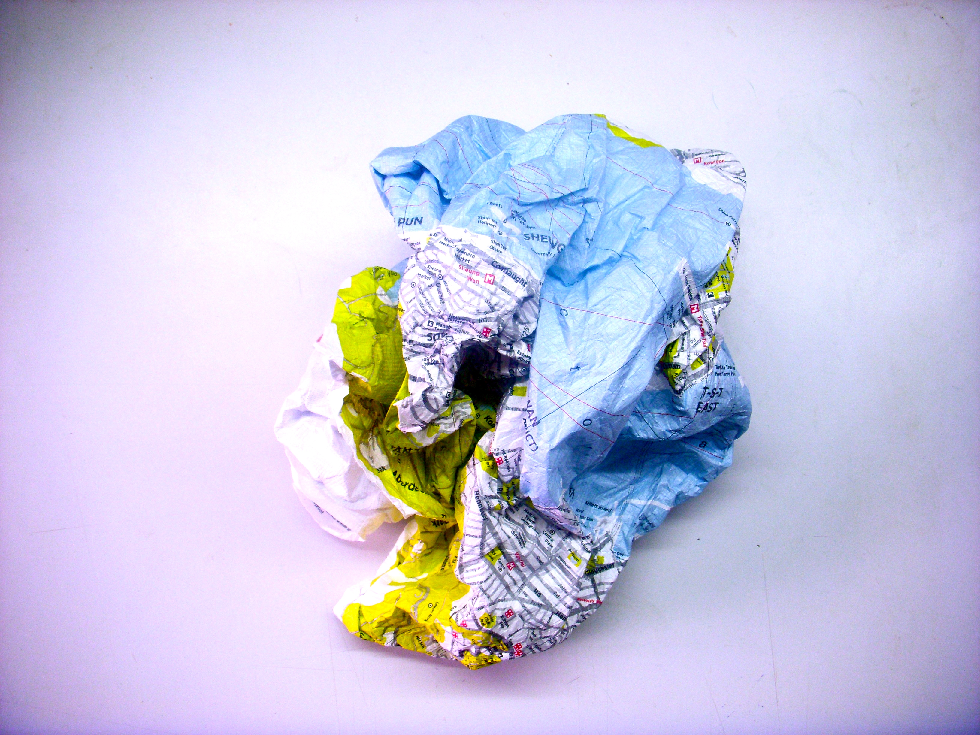 crumpled city map tech