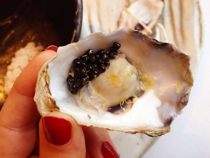 Local oyster with fish eggs