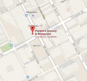 map pucketts 5th and church restaurant nashville tennessee Jetset