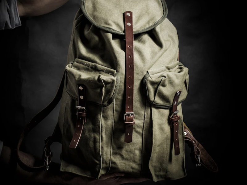 Men's Waxed Canvas Leather Military Backpack - Army Green