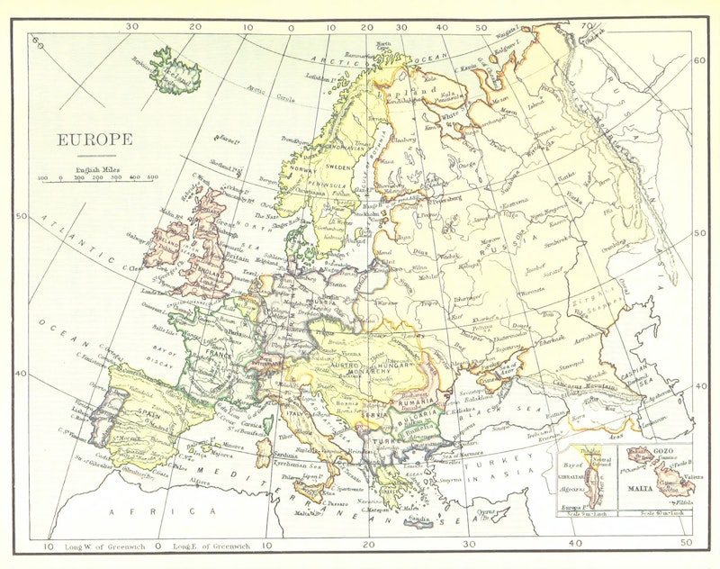 Old map of Europe