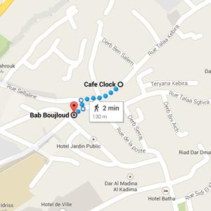 map cafe clock fez morocco