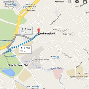 map jardin jnan sbil fez morocco
