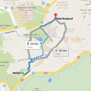 map mellah jewish quarter fez morocco