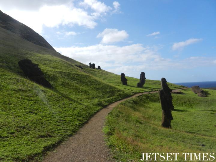 13 A beautiful walk in Rano Raraku amongst the moai. Easter Island