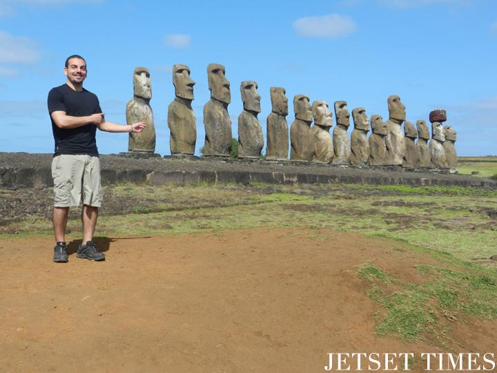 23 Posing with the moai of Ahu Tongariki. Easter Island