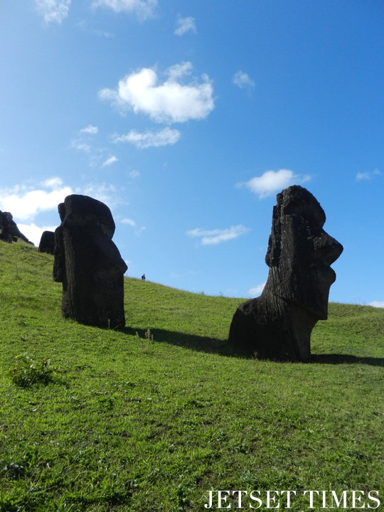 9 Two moai statues at Rano Raraku, Easter Island