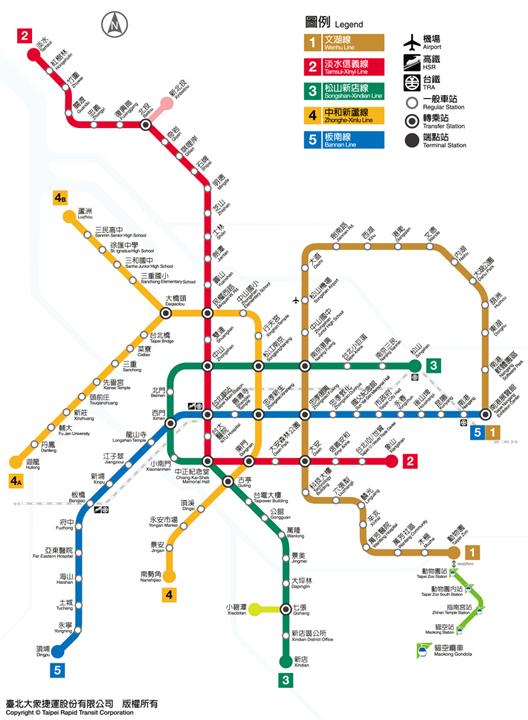 metro taipei map