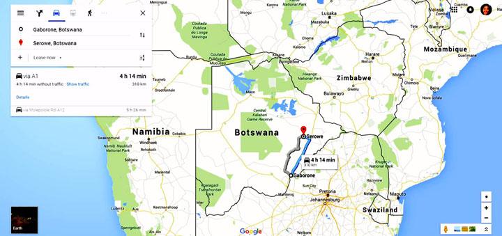 Botswana road trip map