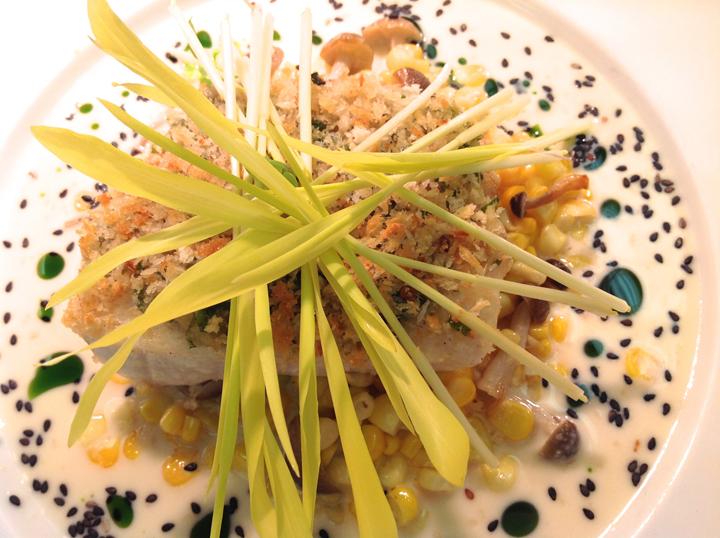 Ginger Crusted Onaga, Mushrooms and Corn, Miso Sesame Vinaigrette