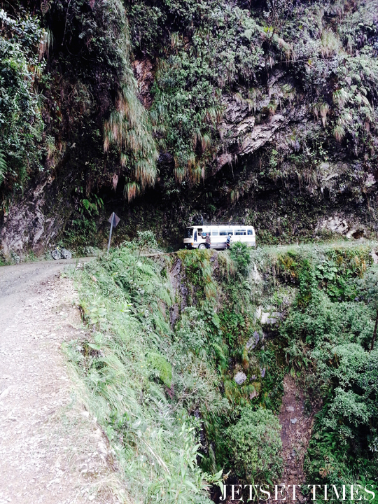 9 Our bus slowly making its way around a bend. Bolivia