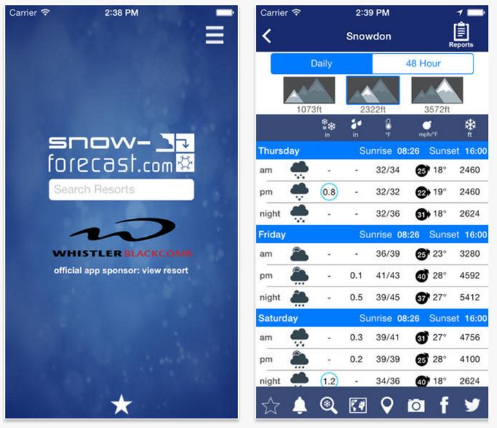 Snow Forecast app ski