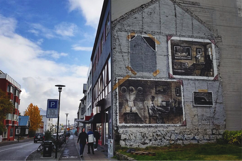 """Hverfisgata 42: Ernest Zacharevic with Dikta, inspired by the song """"We'll meet again"""" by Dikta"""