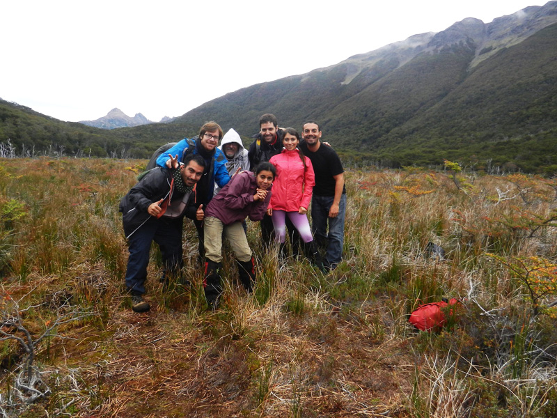 Group hike in the southernmost city in the world at Puerto Wiliams, Chile.
