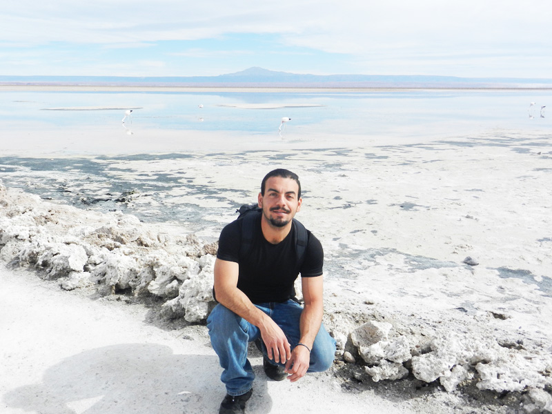 Lagoon in Salt Flats of Uyuni, Bolivia.