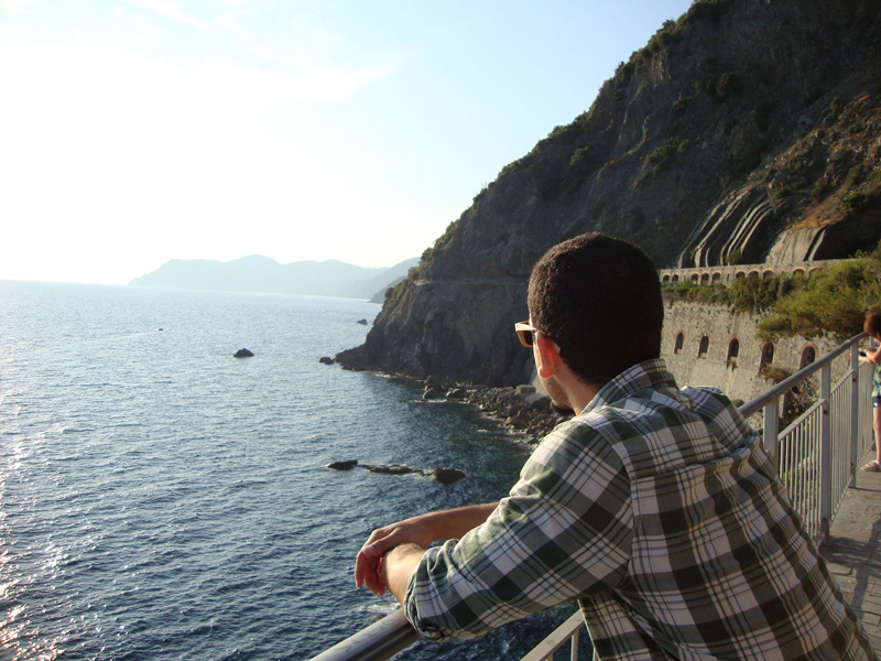 Admiring the Atlantic Ocean at Vernazza, Cinque Terre.