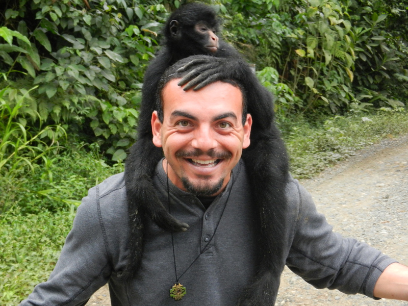 Random monkey on my head in the rainforest at Manu National Park near Cusco, Peru.