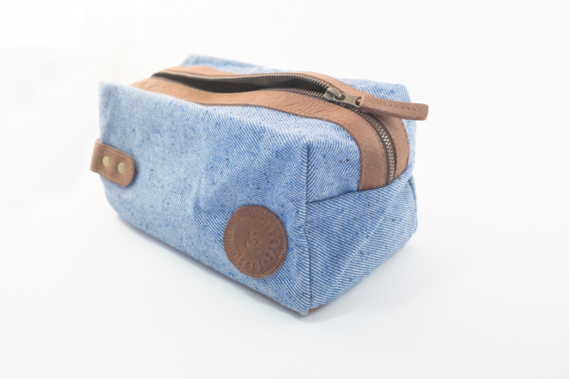 Leather Canvas Toiletry Bag for Men & Women - Blue with Cognac Brown