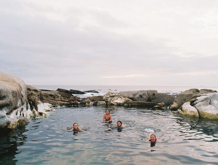 Capturing a sunset dip in some tidal pools.