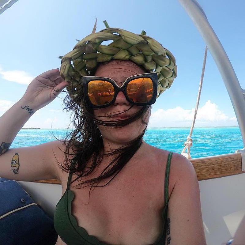 On a Boat in Mo'orea.