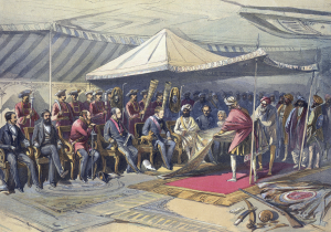 Viceroy, Lord Canning, meets the ruler of the princely state of Jammu and Kashmir, Ranbir Singh, 9 March 1860. Kashmir, like Hyderabad, Mysore, and the states of the Rajputana, supported the British during the Rebellion of 1857.