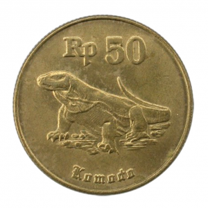 The Komodo dragon, as depicted on the 50 rupiah coin, issued by Indonesia