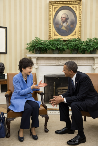 Park Geun-hye at a bilateral meeting with U.S. President Barack Obama on 7 May 2013