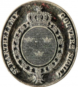 Seal of the governor of the Swedish colony, 1784–1877