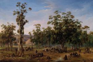 An Aboriginal encampment near the Adelaide foothills, 1854