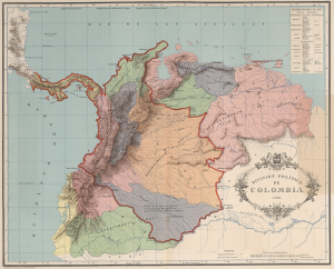 Map showing the shrinking territory of Gran Colombia from 1824 to 1890 (red line). Panama declared its independence from Colombia in 1903.