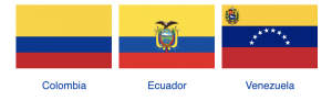 Flags of Gran Colombia's successor states today
