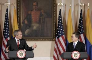 U.S. President George W. Bush in Bogotá with Colombian President Álvaro Uribe