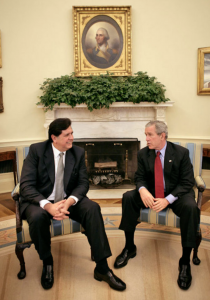 Alan García and George W. Bush at the White House in October 2006.