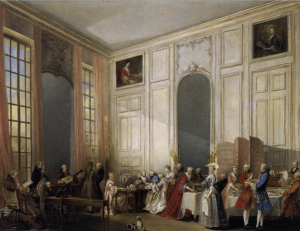 Afternoon Tea at the Temple, 1766, oil on canvas by Michel-Barthélémy Ollivier, depicting W. A. Mozart entertaining the royal court of Louis François, Prince of Conti in the Four-Mirror Salon of the Palais du Temple, Le Marais (Paris)