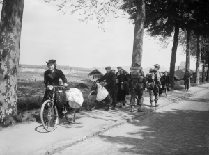 Belgian civilians fleeing westwards away from the advancing German army, 12 May 1940