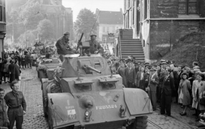 British armoured cars during the liberation of Ghent, September 8th 1944.