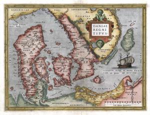 Abraham Ortelius's 1570 map of Denmark including parts on the Scandinavian peninsula.