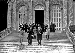 The Hungarian delegation leaving Grand Trianon Palace at Versailles, after the treaty was signed, 1920.