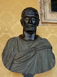 """The """"Capitoline Brutus"""", a bust possibly depicting Lucius Junius Brutus, who led the revolt against Rome's last king and was a founder of the Republic"""