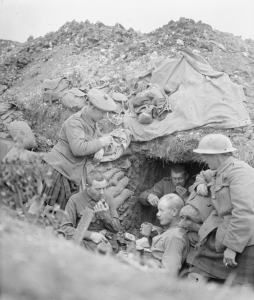Cameronians (Scottish Rifles) in a trench at the Somme, 1916