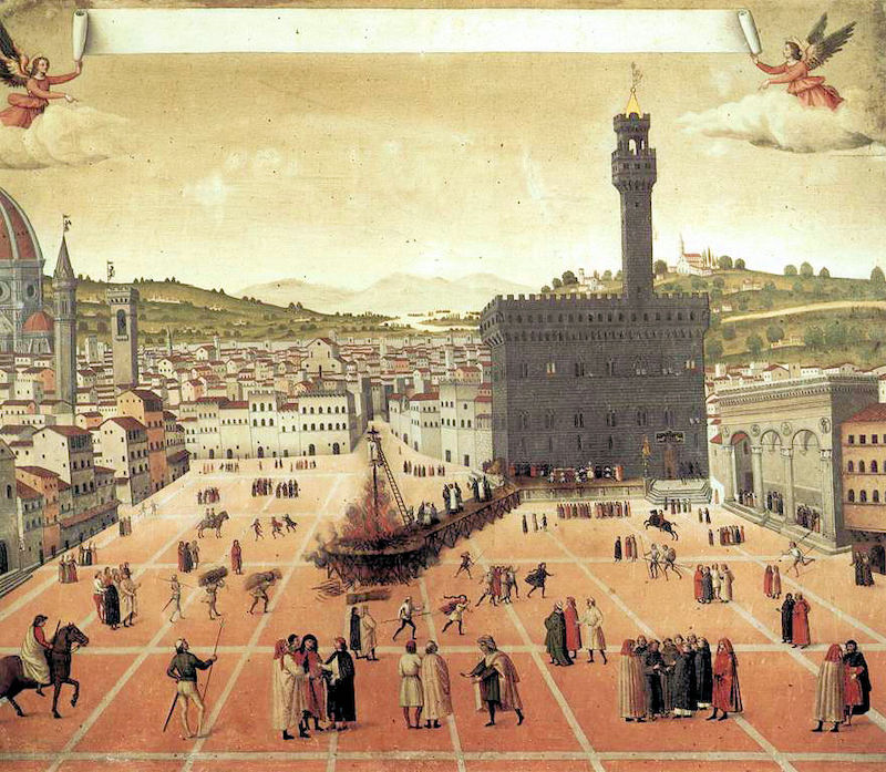 Piazza della Signoria. Painting of the Palazzo and the square in 1498, during the execution of Girolamo Savonarola