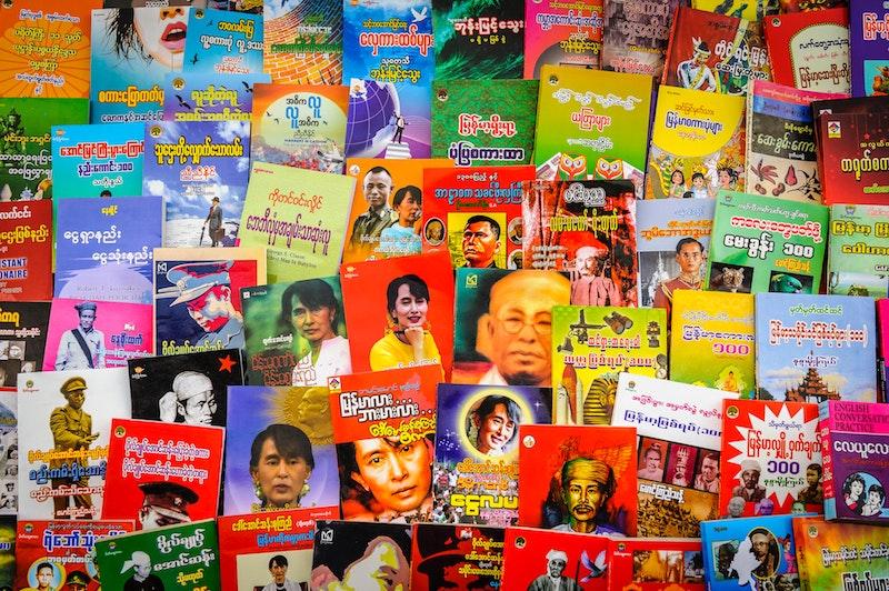 Literature at a local market, Myanmar